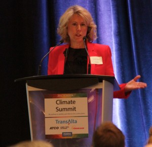 Dawn Farrell, President and CEO, TransAlta speaking at the Pembina Institute Climate Summit in Edmonton on Sep. 9, 2015. Photo Credit: David Dodge, GreenEnergyFutures.ca