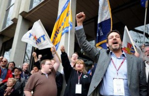 Gil McGowan (right) at a rally at Labour Relations Board, Edmonton, April 27, 2013 Photo credit: Bruce Edwards - Edmonton Journal