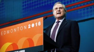 Stephen Lewis speaking at Federal NDP Convention on 9 April, 2016 in Edmonton. Photo credit: Codie McLachlan - Canadian Press.
