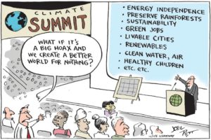 Preventing catastrophic climate change will require re-envisioning the future. Image credit: Joel Pett, USA Today